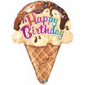 """27"""" Foil Birthday Ice cream Cone (pkgd.) , QF27SI16400"""
