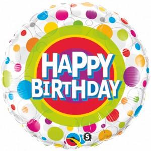 "18"" Foil Happy Birthday Colorful Dots (pkgd.) , QF18RI41136"