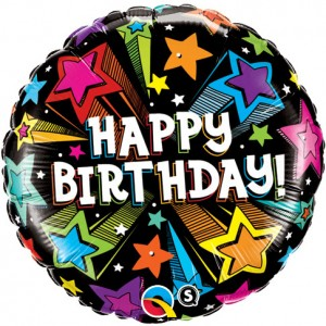 "18"" Foil Birthday Colorful Shooting Stars (pkgd.) , *QF18RI41662"