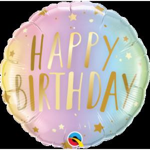 "18"" Foil Birthday Pastel Ombre & Stars (Pkgd.), QF18RI88052 (0) <10 個/包>"