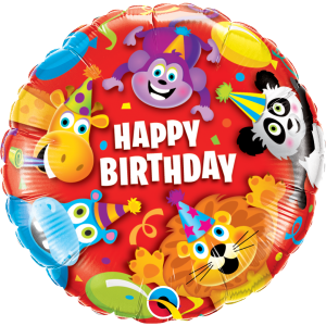 "18"" Foil Birthday Party Animals (pkgd.) , QF18RI14182(PK)"