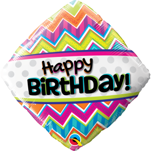 """18"""" Foil Birthday Chevron Patterns (pkgd.), QF18RI14687 (0) <10 個/包>"""