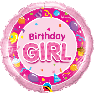 "18"" Foil Birthday Girl Pink (pkgd.) , QF18RI26273"