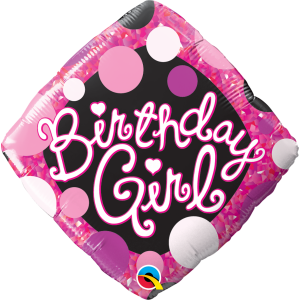 "18"" Foil Birthday Girl Pink & Black (pkgd.) , QF18RI29592"