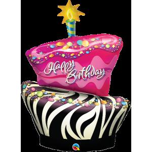 """41"""" Birthday Funky Zebra Stripe Cake (non-pkgd.), QF41SI31026  (0) <10 個/包>"""