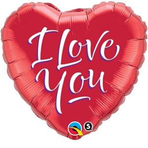 """18"""" Foil Heart - I Love You Script Modern (pkgd.) , *QF18HI29133"""