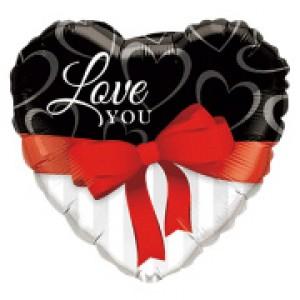 "18"" Foil Love You Red Ribbon (pkgd.) , QF18HI21647(PK)"