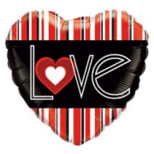 "18"" Foil L(Heart)VE Red Stripes (pkgd.) , QF18HI21698(PK)"
