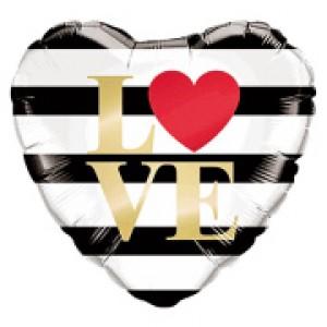 """18"""" Foil L(Heart)VE Horizontal Stripes (pkgd.) , QF18HI21748(PK)"""