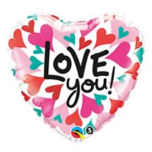 """18"""" Foil Love You Converging Hearts , QF18HI46068"""