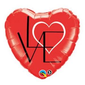 """18"""" Foil L(HEART)VE Red , QF18HI46077"""