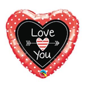 """18"""" Foil Love You Dots & Arrows , QF18HI54841"""