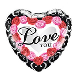 """18"""" Foil Love You Red Rose Frame , QF18HI54852"""