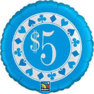 "20"" Foil $5 Poker Chip , #QF20SI31437"