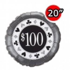 "20"" Foil $100 Poker Chip , #QF20SI98256"