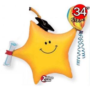 "34"" Foil You 're A Star Smile Face Grad , QF34SI25601"