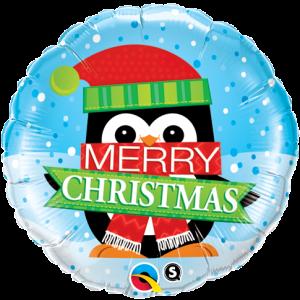 "18"" Foil Merry Christmas Penquin , QF18SI18955"