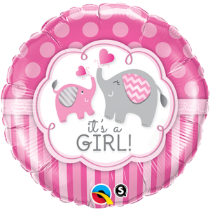 "18"" Foil It's A Girl Elephants (pkgd.), QF18RI45106 (0) <10 個/包>"
