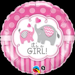 "18"" Foil It's A Girl Elephants - (pkgd.) , *QF18RI45106"