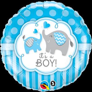 "18"" Foil It's A Boy Elephants - (pkgd.) , *QF18RI45109"