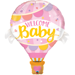 """42"""" Foil Welcome Baby Pink Balloon (non-pkgd.), QF42SI78655 (0)"""
