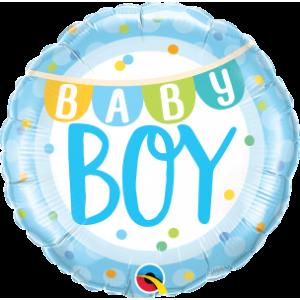 "18""  Foil Baby Boy Banner & Dots(pkgd.), QF18RI85901 (0) <10 個/包>"