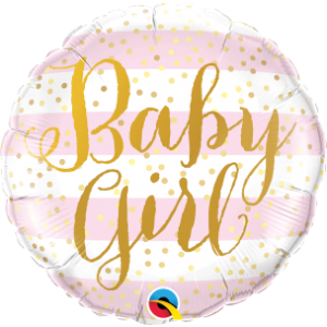 "18""  Foil Baby Girl Pink Stripes (pkgd.), QF18RI88004 (0) <10 個/包>"