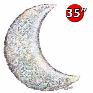 "Crescent Moon 35"" Holographic Silver , *QF35SP50073 <Helium #C>"