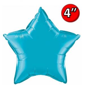 "Foil Star 4"" Turquoise / Air Fill (Non-Pkgd.), QF04SP24817 (0) <10 Pcs/包>"