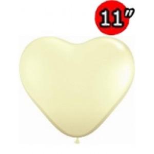 "Heart 11"" Ivory Silk , *QL11HF48587"