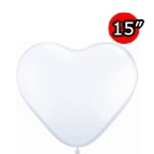 "Heart 15"" Std White (50ct) , *QL15HS24019"