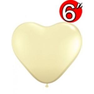 "Heart  6"" Ivory Silk , *QL06HF48586"