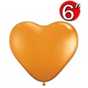 "Heart  6"" Mandarin Orange , QL06HJ43639"