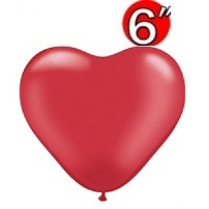 "Heart  6"" Pearl Ruby Red , *QL06HP17728"