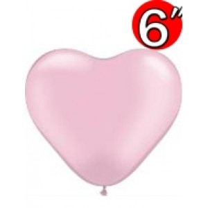 "Heart  6"" Pearl Pink , *QL06HP17731"