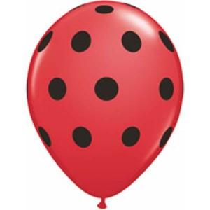 """11"""" Big Polka Dots (TV) - Red w/ Black Ink (50ct) , QL11RI37221 (0)"""