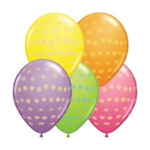 "11"" Polka Dot - Yellow, Orange, Rose, Spring Lilac & Lime Green (50ct) , *QL11RI37077"