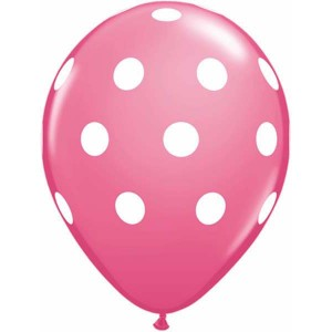 """11"""" Big Polka Dots (TW) - Rose (50ct) , QL11RI37222 (0)"""