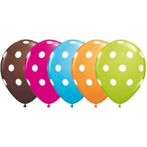 "11"" Big Polka Dots (TW) - Orange, Chocolate Brown, Robin's Blue, Wild Berry & Lime Green (50ct) , QL11RI84651 (0)"