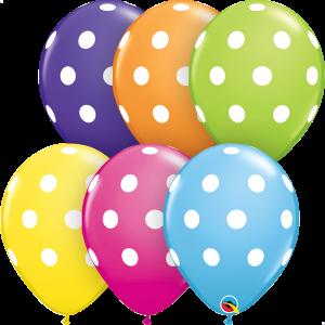"""11"""" Big Polka Dots (TW) - Tropical Assortment (50ct) , QL11RI85066 (0)"""