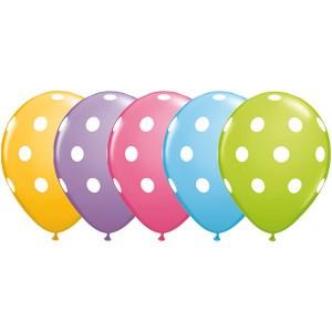 "11"" Big Polka Dots (TW) - Pale Blue, Goldenrod, Rose, Spring Lilac & Lime Green (50ct) , QL11RI86421 (0)"