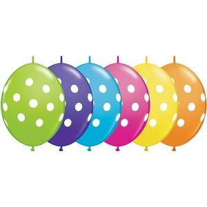 """12"""" QL-Tropical Assortment - Big Polka Dots (50ct) , QL12LI90567"""