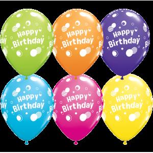 "11"" Tropical Assortment - Happy Birthday Polka Dots  (50ct) , *QL11RI12019"
