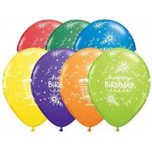 "11"" Carnival Assortment - Birthday Cake & Candle  (50ct) , *QL11RI18838"