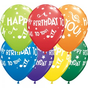 "11"" Happy Birthday To You Music Notes (TV) - Carnival Assortment (50ct) , QL11RI19068 (0)"