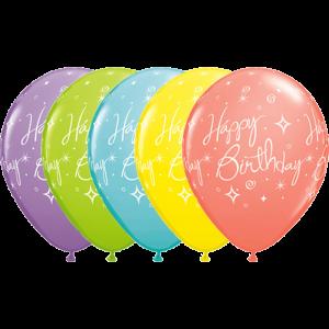 "11"" Sorbet Assortment - Birthday Elegant Sparkles & Swirls  (50ct) , *QL11RI19167"
