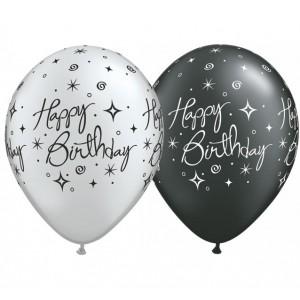 "11"" Birthday Elegant Sparkles & Swirls (LBR) - Sliver & Pearl Onyx Black (50ct) , QL11RI37497 (0)"