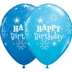"11"" Birthday Sparkle (TV) - Dark Blue & Robin's Egg Blue (50ct) , QL11RI41407 (0)"