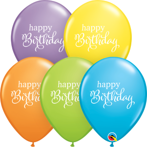 "11"" Simply Happy Birthday (LBN) - Bright Pastel Assortment (50ct) , QL11RI88279 (0)"