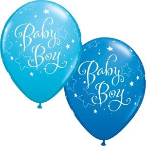 "11"" Baby Boy Stars (TV) - Dark Blue & Robin's Egg Blue (50ct) , QL11RI55926 (0)"